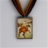 Racing Horses Retro, Vintage-Style Pendant. Unique jewelry.