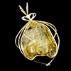 Rutile in Quartz Gold Wire-wrapped Pendant