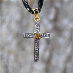 Silver, Gold, Crystal, Vintage-Style Cross Pendant