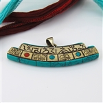 Tibetan Turquoise, Brass, Coral Wisdom Compassion Mantra Curved Pendant