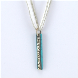 Tibetan Turquoise, Brass, Mantra Pendant of Wisdom and Compassion