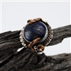 Blue Lapis Oxidized Silver and Gold Plated Ring