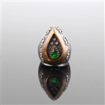 Persian Green Stone with Oxidized Silver and Crystal Chips, Ring Size 7 7/8