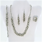 Silver Bead Necklace, Earrings, Ring, Bracelet Set