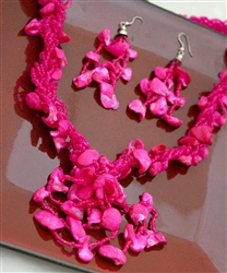 Fuchsia Pink Bead and Shell Necklace and Earrings
