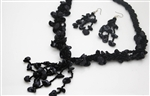 Smokey Black Bead & Shell Necklace & Earrings Set