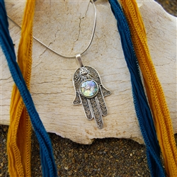 Historical combination of Roman Glass and the hamsa symbol help create this fascinating conversation necklace.