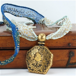 Pendant Antiqued Brass Perfume Bottle