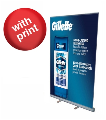 "Retractable Roll Up Banner Stand 45"" with Vinyl Print"