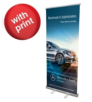 "Retractable Roll Up Banner Stand 33"" with Vinyl Print"