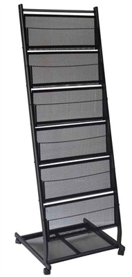 6 Shelf  Mobile Literature Display Rack - Medium