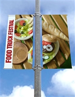 "Street Pole Banner Brackets 18"" Double Set with (2) 18"" x 36"" Vinyl Banners"