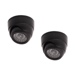 ALEKO  DCD06 Dummy Replica Criminal Surveillance Imitation Dome Camera With LED, Black, Lot of 2