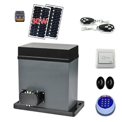 Solar Compatible Gear Driven Sliding Gate Opener - AR750 - Full 30W Solar Kit - ALEKO