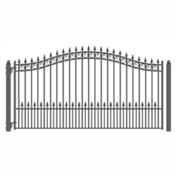 Prague Style Single Swing Steel Driveway Gate 16'