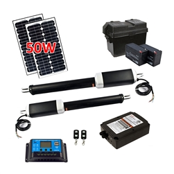 Dual Swing Gate Operator - GG900U AC/DC - ETL Listed - Solar Kit 50W - ALEKO