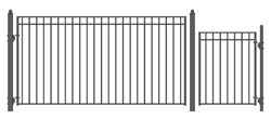 Set of ALEKO® MADRID Style Steel Swing Single Driveway 12 ft with Pedestrian Gate 4 ft