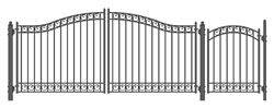 Set of ALEKO® DUBLIN Style Steel Swing Dual Driveway 14 ft with Pedestrian Gate 4 ft