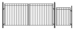 Set of ALEKO® MADRID Style Steel Swing Dual Driveway 14 ft with Pedestrian Gate 4 ft