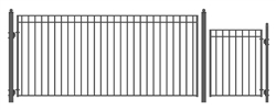 Set of ALEKO® MADRID Style Steel Swing Single Driveway 14 ft with Pedestrian Gate 4 ft