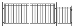 Set of ALEKO® MADRID Style Steel Swing Dual Driveway 16 ft with Pedestrian Gate 4 ft