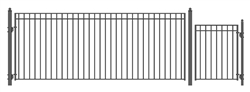 Set of ALEKO® MADRID Style Steel Swing Single Driveway 16 ft with Pedestrian Gate 4 ft