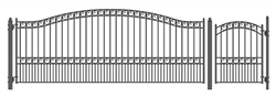 Set of ALEKO® PARIS Style Steel Swing Single Driveway 16 ft with Pedestrian Gate 4 ft