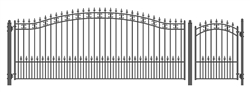 Set of ALEKO® ST.PETERSBURG Style Steel Swing Single Driveway 16 ft with Pedestrian Gate 4 ft