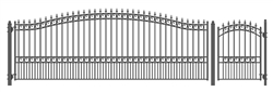 Set of ALEKO® LONDON Style Steel Swing Single Driveway 18 ft with Pedestrian Gate 4 ft