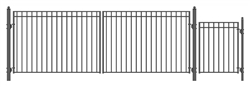 Set of ALEKO® MADRID Style Steel Swing Dual Driveway 18 ft with Pedestrian Gate 4 ft