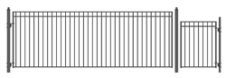 Set of ALEKO® MADRID Style Steel Swing Single Driveway 18 ft with Pedestrian Gate 4 ft