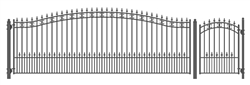 Set of ALEKO® ST.PETERSBURG Style Steel Swing Single Driveway 18 ft with Pedestrian Gate 4 ft