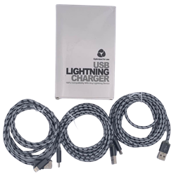 Braided 6' Lightning Cable Gray/Black 3 Pack