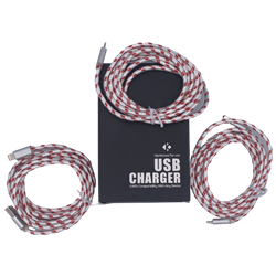 Braided 6' Lightning Cable Gray/Red 3 Pack