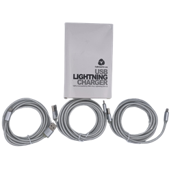 Braided 6' Lightning Cable Silver 3 Pack