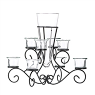 Black Scrollwork Candle Stand With Glass Vase