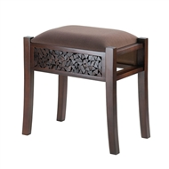 Regent Padded Deep Brown Carved Foot Stool