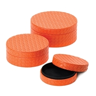 Orange Faux Leather Keepsake Box 3PC