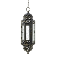 Victorian Clear Glass Metal Hanging Candle Lantern