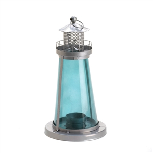 Blue Glass Watch Tower Candle Lantern