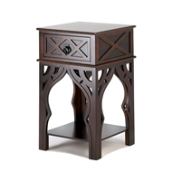 Moroccan Deep Brown 1-Drawer Side Table