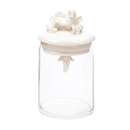 White Flower Clear Glass Jar