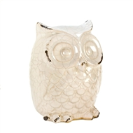 Distressed White Ceramic Owl Figurine