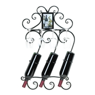 3-Bottle Black Scrollwork Wall Wine Rack w/Frame