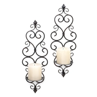 Fleur-De-Lis Pillar Candle Wall Sconces Set of 2