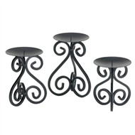 Scrollwork Black Pillar Candle Stands 3PC