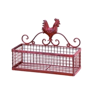 Red Rooster Single Basket Wall Rack