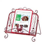Red Rooster Cookbook Stand w/Page Keepers