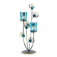 Peacock Blue Plume Candle Holder