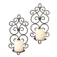 Scrollwork Pillar Candle Wall Sconces Set of 2